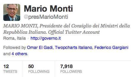 Presidente del Consiglio Monti su Twitter