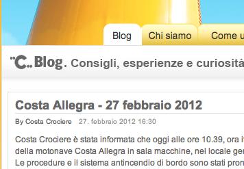 Costa Allegra: notizia sul blog
