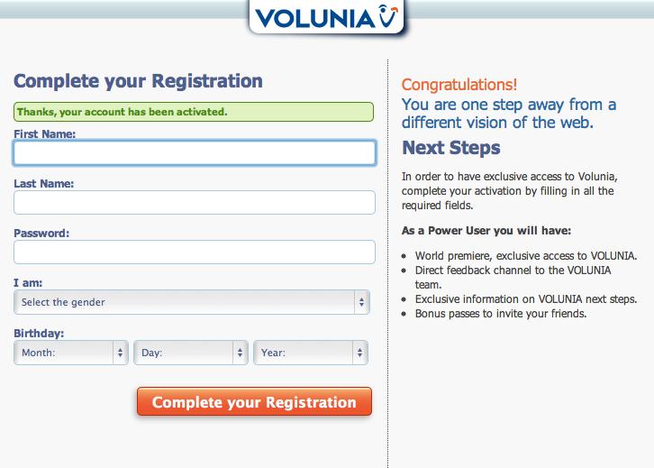 Volunia Registrazione