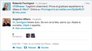@angeaifa account fake di Alfano commenta Formigoni @r_formigoni e viene RT