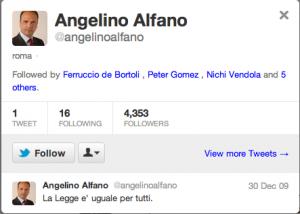 Profilo Angelino Alfano - account dormiente