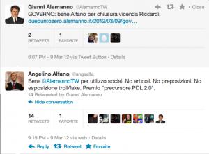 Alemanno fa RT ad Alfano fake