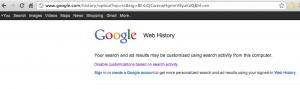 Google Web History attivo