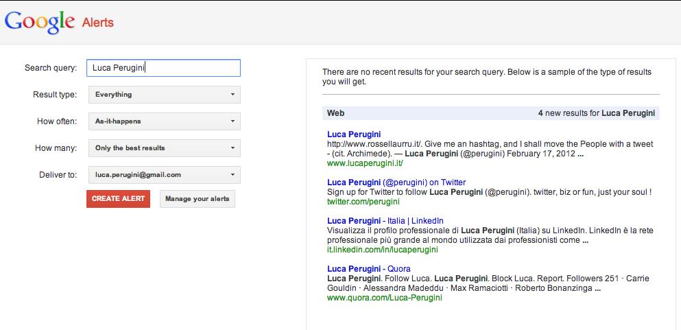 Google Alert su Luca Perugini