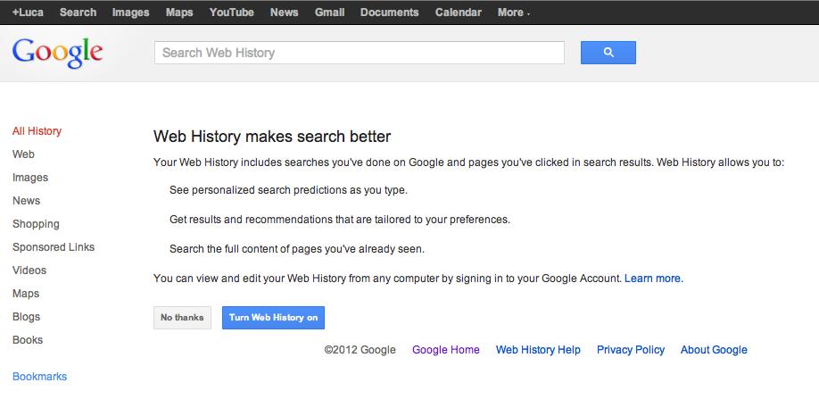 Google History Setup