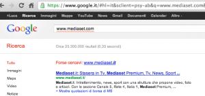 "Mediaset: google suggerisce ""forse cercavi mediaset.it"""