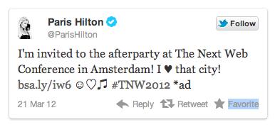 TNW Paris Hilton Testimonial Tweet