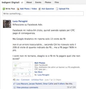 Riflessione su Facebook Adv - gruppo Indigeni Digitali