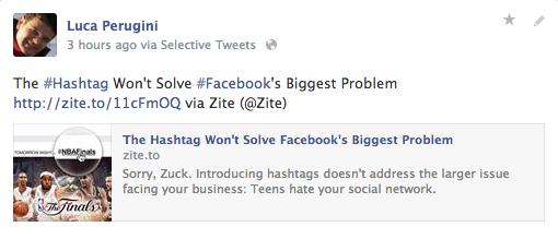 hashtag facebook esempio d'uso