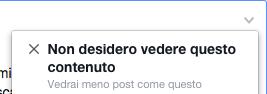non desidero vedere questo contenuto - Facebook
